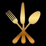 Gold cutlery icon Stock Photography