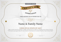 Vector illustration of gold detailed certificate. Stock Image