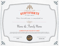 Vector illustration of gold detailed certificate. Stock Photo
