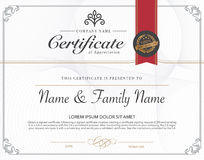 Vector illustration of gold detailed certificate. Royalty Free Stock Photo