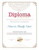 Vector illustration of gold detailed certificate. Royalty Free Stock Photography
