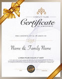 Vector illustration of gold detailed certificate. Royalty Free Stock Photos