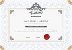 Vector illustration of gold detailed certificate Royalty Free Stock Image