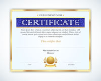 Vector illustration of gold detailed certificate. Template that is used in certificate, currency and diplomas. royalty free illustration