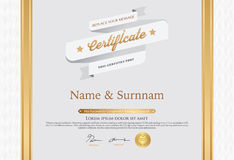 Vector illustration of gold detailed certificate Stock Photos