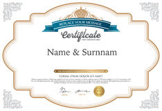 Vector illustration of gold detailed certificate Royalty Free Stock Images