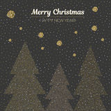 Vector illustration gold dotted christmas trees. Holiday background. Merry Christmas and Happy New Year. Vector illustration gold dotted christmas trees Stock Image