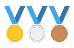 Vector illustration of gold medal gold medal and copper medal. Vector illustration of gold medal gold medal and copper medal, vector illustion flat design style Royalty Free Stock Photo