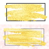 Gold smear and frame Royalty Free Stock Photos