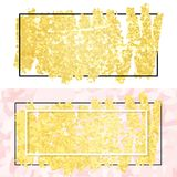 Gold smear and frame. Vector illustration of gold paint smudge and frame for design of banners, cards, posters, tickets Royalty Free Stock Photography