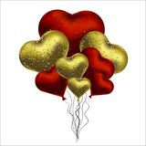 Vector illustration with gold and red balloons in the shape of heart. Background for postcards, posters.  Royalty Free Stock Photo