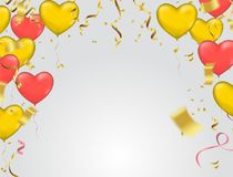 Vector illustration with gold and red balloons in the shape of h. Eart. or Wedding invitation festive decoration. Vector EPS10 royalty free illustration