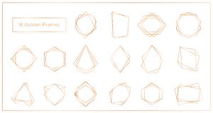 Vector illustration of gold segments frames set on white background. Geometric polyhedron thin line frames collection stock illustration