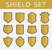 Gold shield set Royalty Free Stock Images
