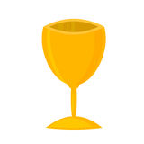 Vector illustration of gold shiny trophy. Victory award sport success winner achievement gold cup. Best metal win reward competition gold cup first prize Royalty Free Stock Image