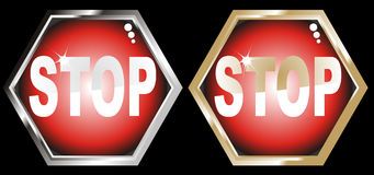 Vector illustration gold & silver Stop sign Stock Photos