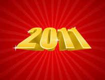 Vector illustration of golden 2011 year Stock Image