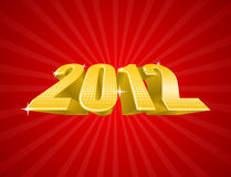 Vector illustration of golden 2012 year. On red luxury background stock illustration