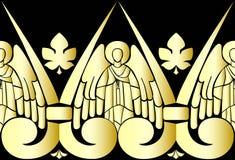 Vector illustration of Golden Angels on black background. Pattern. Vector illustration of Golden Angels on black background Stock Photo