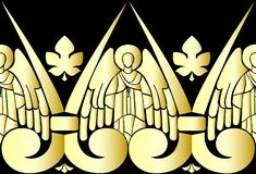 Vector illustration of Golden Angels on black background. Pattern Stock Photo