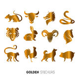 Vector illustration of golden Animal horoscope year stickers, flash temporary tattoo.  royalty free stock images