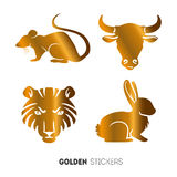 Vector illustration of golden Animal horoscope year stickers, flash temporary tattoo.  royalty free stock image