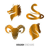 Vector illustration of golden Animal horoscope year stickers, flash temporary tattoo Royalty Free Stock Photos