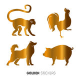 Vector illustration of golden Animal horoscope year stickers, flash temporary tattoo Stock Photos