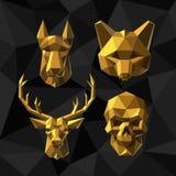 Vector illustration Golden animals Polygon style. Stock Photo