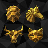 Vector illustration Golden animals Polygon style. Vector illustration Golden animals Lion, Horse, Bull, Cat Polygon style Stock Photos