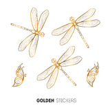 Vector illustration of golden butterfly and dragonfly stickers, flash temporary tattoo Royalty Free Stock Images