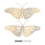Vector illustration of golden butterfly stickers, flash temporary tattoo Stock Photography