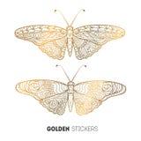 Vector illustration of golden butterfly stickers, flash temporary tattoo.  vector illustration