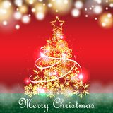 Golden christmas tree vector for greeting card Royalty Free Stock Image