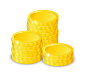 Vector Illustration of golden coins. Isolated on white. Increase earnings. Business finance Stock Photography