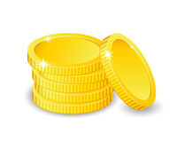 Vector Illustration of golden coins. Isolated on white. Increase earnings. Business finance. Vector Illustration of golden coins. Isolated on white. Increase Royalty Free Stock Photography