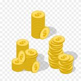 Vector Illustration of golden coins. Money illustration isolated Royalty Free Stock Photos