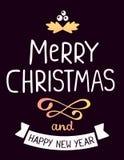 Vector illustration of golden color christmas mistletoe  Royalty Free Stock Photography