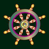 Vector illustration golden Dharma wheel. Buddhism  symbol. Dharmachakra. Vector illustration golden Dharma wheel. Buddhism  symbol. Dharmachakra Stock Photography