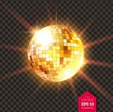 Golden Disco ball with light rays. Vector illustration of golden Disco ball with light rays isolated on transparent background Royalty Free Stock Images