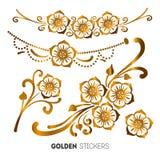 Vector illustration of golden flower stickers, flash temporary tattoo.  stock illustration