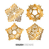 Vector illustration of golden flower stickers, flash temporary tattoo Royalty Free Stock Photography