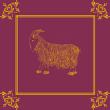 Vector illustration of golden goat, symbol of 2015 on the Chines calendar Royalty Free Stock Photo