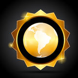 Vector Illustration of Golden Label with Globe Map Stock Photos