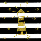 Vector illustration of the golden light house on the background with black stripes. Hand drawn vector art. Royalty Free Stock Image