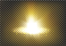 Vector illustration of a golden light ray with glitter, a light beam Royalty Free Stock Images