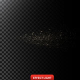 Vector illustration of a golden light ray with glitter, a light beam with sparks Stock Photos