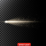 Vector illustration of a golden light ray with glitter, a light beam with sparks Royalty Free Stock Image