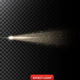 Vector illustration of a golden light ray with glitter, a light beam with sparks Royalty Free Stock Images