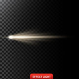 Vector illustration of a golden light ray, a light beam, a glow effect. An explosion, a flash on a black background. Design element vector illustration